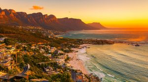 Aerial Image of the Cape Town Coast & Sunsetfrom Clifton